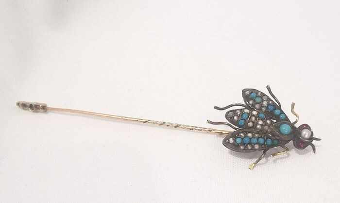 14 kt. Yellow gold - Brooch Turquoise - Pearls