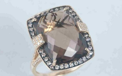 14K yellow gold smokey topaz ring