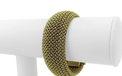 14k Yellow Gold 75.6g Heavy Wide 22mm Woven Mesh
