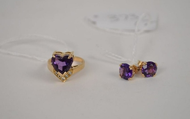 14k Yellow Gold Amethyst Diamond Ring with Earrings.