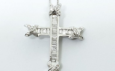 18 kt. White gold - Necklace with pendant - 1.20 ct Diamond