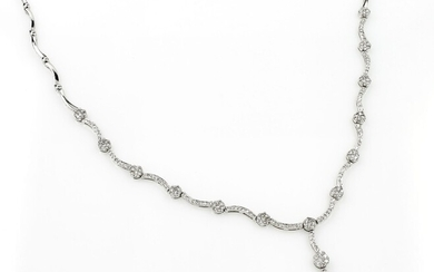 18 kt gold necklace with diamonds and...