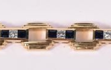 18K Yellow Gold Diamond Sapphire Retro Bracelet
