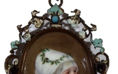 19th Century Continental European School - a miniature bust portrait of a young woman