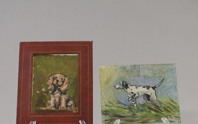 [2] Miniature Oil Paintings of Dogs Signed Initials RB