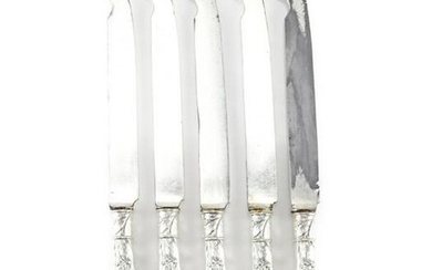 5 Codding Heilbron Sterling Silver Armorial Fish Knives