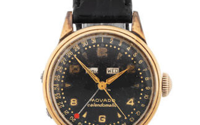 Movado. A stainless steel and gold capped automatic triple calendar wristwatch