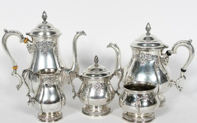 "5PC INTERNATIONAL ""PRELUDE"" STERLING TEA SERVICE"