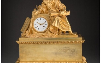 61073: A French Gilt Bronze Figural Mantle Clock, 20th