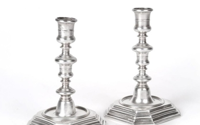 A Pair of Queen Anne Silver Candlesticks, by William Denny,...