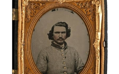 Sixth Plate Ambrotype of Genteel Confederate Soldier