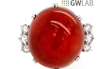 900 Platinum - Ring - 43.05 ct Mexican Fire Opal- 1.15 ct Diamonds