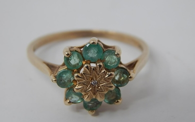 9ct gold emerald and diamond cluster ring, small single cut ...