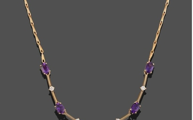 A 9 Carat Gold Amethyst and Diamond Necklace, five oval...