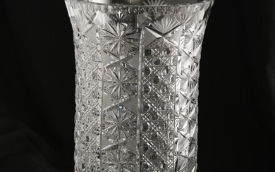 A BOHEMIAN HEAVY CUT CRYSTAL VASE, 28 CM HIGH, LEONARD JOEL LOCAL DELIVERY SIZE: SMALL