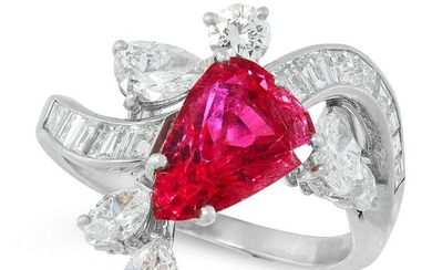 A BURMA NO HEAT RUBY AND DIAMOND RING in platinum, set