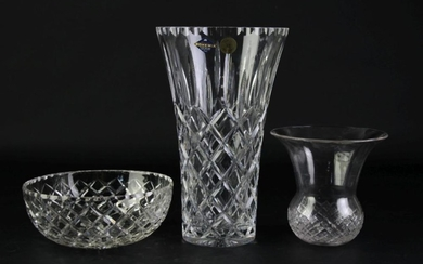 A Bohemia Ware Vase (H 25cm) Together with Small Bowl (Dia 18cm)