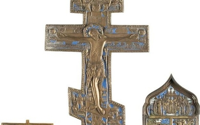 A CRUCIFIX, A SMALL BRASS ICON AND A FRAGMENT OF A