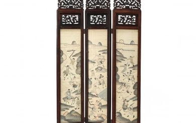 A Chinese Carved Wooden Folding Screen with Six Kesi Panels