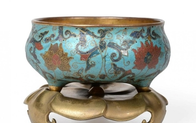 A Chinese Cloisonné Enamel Censer on Stand, Kangxi period, of...
