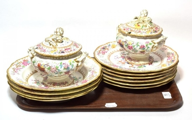 A 'Chinese Tree' pattern, no.1959, part dinner service, comprising six...