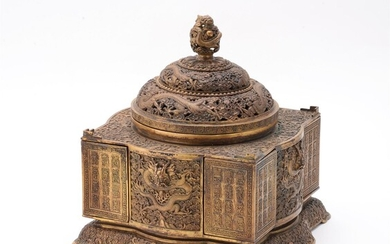 A Chinese gilt bronze 'Dragon' table cabinet