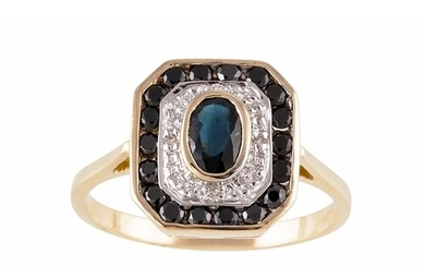 A DIAMOND AND SAPPHIRE CLUSTER RING, octagonal form, mounted...