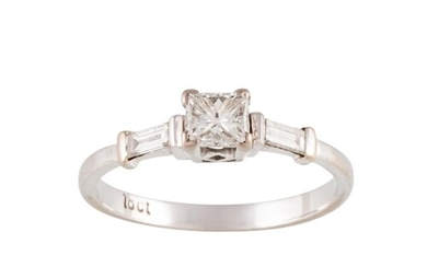 A DIAMOND SOLITAIRE RING, the centre radiant cut diamond to ...
