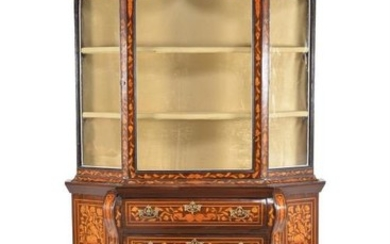A Dutch walnut and marquetry inlaid display cabinet