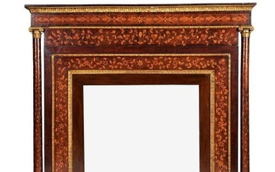 A Dutch walnut, mahogany, marquetry and parcel-gilt overmantel mirror, early 19th century