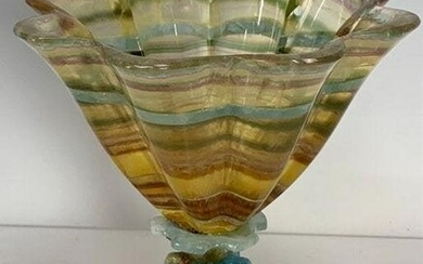 A FINE MULTICOLORED CARVED AGATE VASE SIGNED S PAUL
