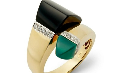 A French onyx, chrysoprase and diamond crossover ring.