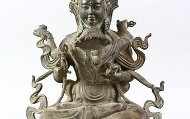 A GOOD 19TH CENTURY INDIAN BRONZE FIGURE OF BUDDHA /