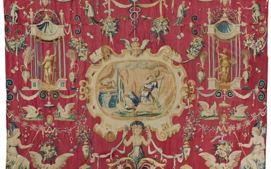 A 'GROTESQUE MEDALLION' TAPESTRY, SOUTHERN NETHERLANDS, BRUSSELS, THIRD QUARTER 16TH CENTURY, AND LATER