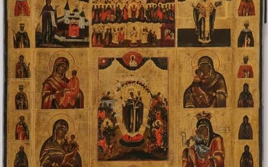 A LARGE AND IMPRESSIVE RUSSIAN ICON 19TH CENTURY