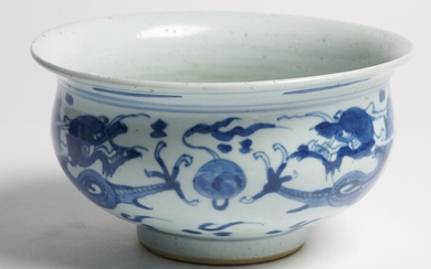 A LARGE CHINESE BLUE AND WHITE CENSER QING DYNASTY (1644-1912), EARLY 18TH CENTURY