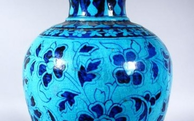 A LARGE INDIAN POTTERY VASE, with turquoise glaze and