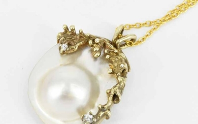A MABE PEARL PENDANT