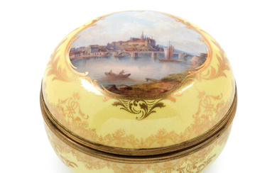A Meissen Gilt Metal Mounted Painted and Parcel Gilt Yellow-Ground Porcelain Box