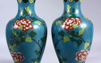 A PAIR OF 19TH / 20TH CENTURY CHINESE CLOISONNE VASES
