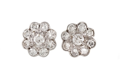 A PAIR OF DIAMOND DAISY CLUSTER EARRINGS, with diamonds of a...