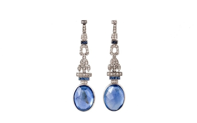 A PAIR OF EARLY 20TH CENTURY SAPPHIRE AND DIAMOND DROP EARRI...