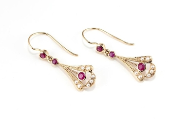 A PAIR OF EDWARDIAN STYLE RUBY AND PEARL EARRINGS; 9ct gold fan shape drops set with round cut treated rubies and seed pearls to she...