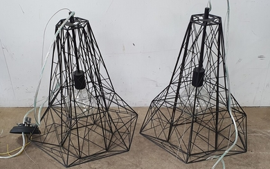 A PAIR OF MODERN GEOMETRIC HANGING LIGHTS