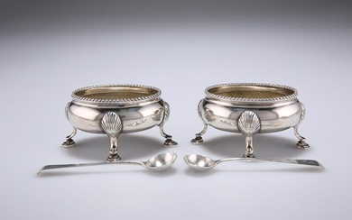 A PAIR OF VICTORIAN SILVER SALTS, by Edward Charles
