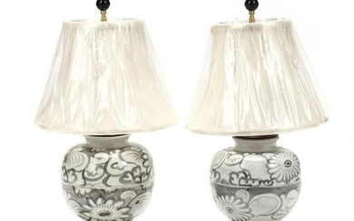A Pair of Chinese Porcelain Table Lamps