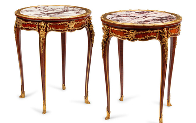 A Pair of Louis XV Style Gilt Bronze Mounted Marble-Top Tables