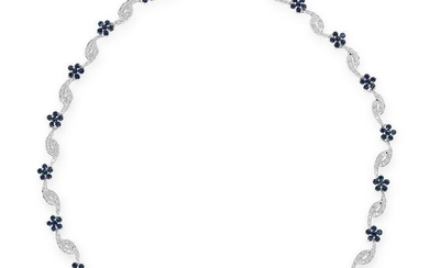 A SAPPHIRE AND DIAMOND NECKLACE comprising of