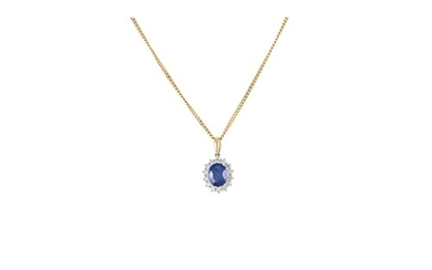 A SAPPHIRE AND DIAMOND PENDANT, of oval form, set with brill...