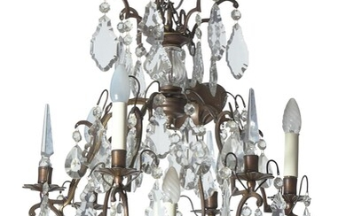A SMALL LOUIS XVI STYLE BRONZE AND CRYSTAL CHANDELIER 20TH CENTURY